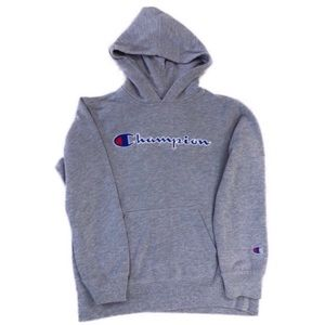 Champion Gray Boys Embroidered Logo Hoodie, Size M